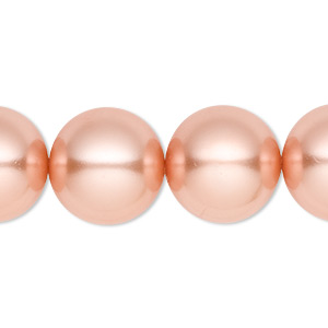 bead, celestial crystal, glass pearl, peach, 16mm round. sold per 16-inch strand.