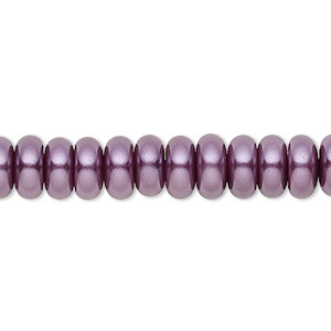 bead, celestial crystal, glass pearl, plum, 8x3mm rondelle. sold per pkg of (2) 16-inch strands.