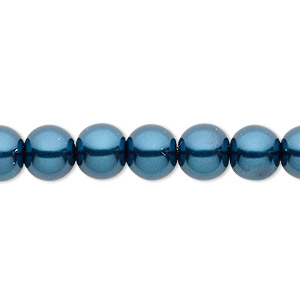bead, celestial crystal, glass pearl, teal, 8mm round. sold per pkg of (2) 16-inch strands.