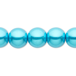 bead, celestial crystal, glass pearl, turquoise blue, 12mm round. sold per 16-inch strand.