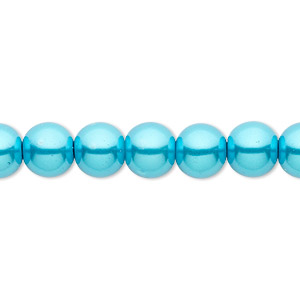 bead, celestial crystal, glass pearl, turquoise blue, 8mm round. sold per pkg of (2) 16-inch strands.
