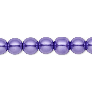 bead, celestial crystal, glass pearl, violet, 8mm round. sold per pkg of (2) 16-inch strands.
