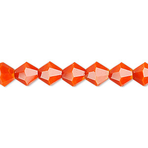bead, celestial crystal, opaque orange, 8mm faceted bicone. sold per 16-inch strand.