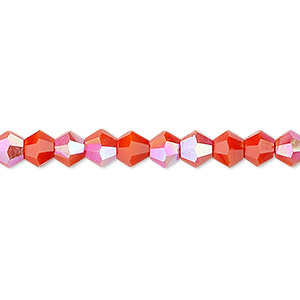 bead, celestial crystal, opaque orange ab, 6mm faceted bicone. sold per 16-inch strand.