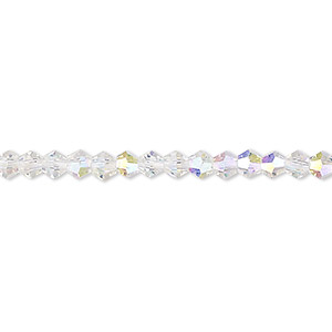 bead, celestial crystal, transparent clear ab, 4mm faceted bicone. sold per 16-inch strand.