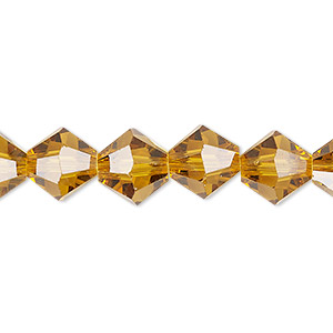 bead, celestial crystal, transparent gold, 10mm faceted bicone. sold per 8-inch strand, approximately 20 beads.