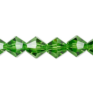 bead, celestial crystal, transparent green, 10mm faceted bicone. sold per 8-inch strand, approximately 20 beads.