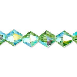bead, celestial crystal, transparent lime green ab, 10mm faceted bicone. sold per 8-inch strand, approximately 20 beads.
