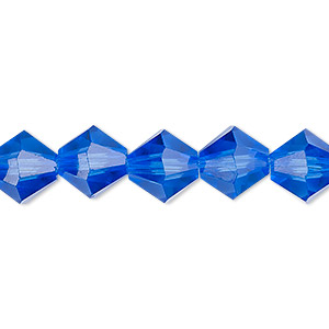 bead, celestial crystal, transparent medium blue, 10mm faceted bicone. sold per 8-inch strand, approximately 20 beads.