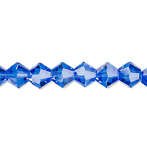 bead, celestial crystal, transparent medium blue, 8mm faceted bicone. sold per 16-inch strand.