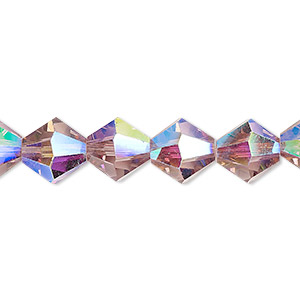 bead, celestial crystal, transparent medium purple ab, 10mm faceted bicone. sold per 8-inch strand, approximately 20 beads.