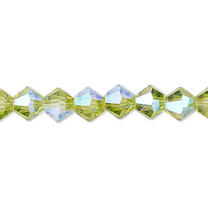 bead, celestial crystal, transparent peridot green ab, 8mm faceted bicone. sold per 16-inch strand.