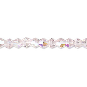 bead, celestial crystal, transparent pink ab, 6mm faceted bicone. sold per 16-inch strand.