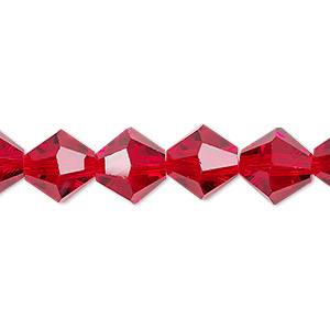 bead, celestial crystal, transparent red, 10mm faceted bicone. sold per 8-inch strand, approximately 20 beads.