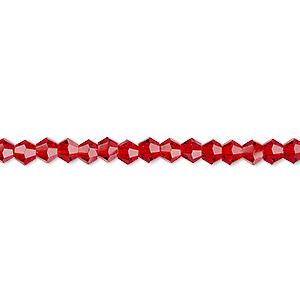 bead, celestial crystal, transparent red, 4mm faceted bicone. sold per 16-inch strand.