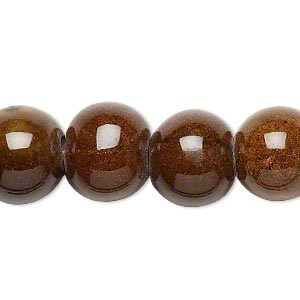 bead, ceramic and porcelain, dark honey, 13-14mm round. sold per 8-inch strand.