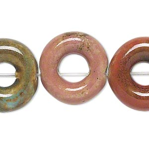 bead, ceramic, assorted colors, 20mm round donut. sold per 8-inch strand, approximately 10 beads.