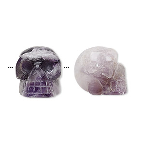 bead, chevron amethyst (natural), 25x21mm skull, c grade, mohs hardness 7. sold per pkg of 2.