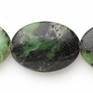 bead, chinese chrysoprase (natural), 25x18mm-30x22mm flat oval, c- grade, mohs hardness 2-1/2 to 6. sold per 16-inch strand.
