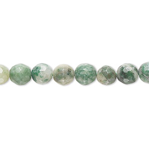 bead, ching hai jade (natural), 6-7mm hand-faceted round, c- grade, mohs hardness 3-1/2 to 4. sold per 8-inch strand.