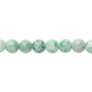bead, ching hai jade (natural), 6mm round, b grade, mohs hardness 3-1/2 to 4. sold per 16-inch strand.