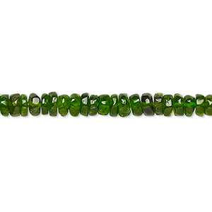 bead, chrome diopside (natural), 3x1mm-4x2mm hand-cut rondelle, b grade, mohs hardness 5-1/2 to 6. sold per 8-inch strand, approximately 100-150 beads.