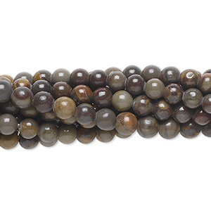 bead, chrysanthemum stone (natural), 4mm round, c grade, mohs hardness 3 to 4. sold per pkg of (10) 16-inch strands.