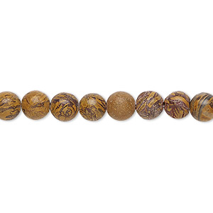 bead, chrysanthemum stone (natural), 6mm round, b grade, mohs hardness 3 to 4. sold per 16-inch strand.