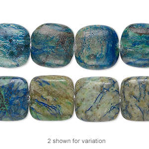 bead, chrysocolla (stabilized), 14mm square, b grade, mohs hardness 2 to 4. sold per 8-inch strand, approximately 10 beads.