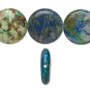 bead, chrysocolla (stabilized), 20mm flat round, b grade, mohs hardness 2 to 4. sold per 16-inch strand.