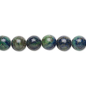bead, chrysocolla (stabilized), 8mm round, b grade, mohs hardness 2 to 4. sold per 16-inch strand.