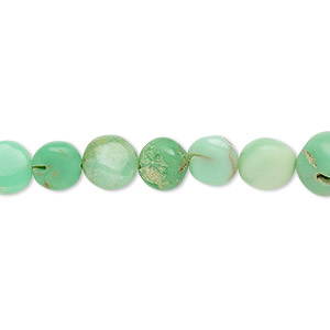 bead, chrysoprase (natural), 7-9mm hand-cut puffed flat round, c- grade, mohs hardness 6-1/2 to 7. sold per 7-inch strand.
