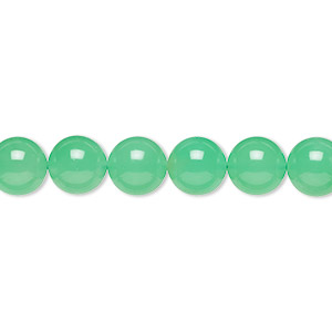 bead, chrysoprase (natural), 8mm round, a- grade, mohs hardness 6-1/2 to 7. sold per 15-inch strand.