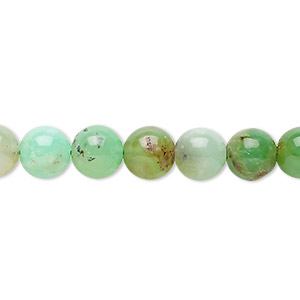 bead, chrysoprase (natural), 8mm round, c grade, mohs hardness 6-1/2 to 7. sold per 8-inch strand, approximately 25 beads.