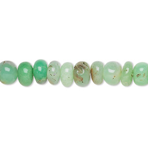bead, chrysoprase (natural), shaded, 6x3mm-7x5mm hand-cut rondelle, c grade, mohs hardness 6-1/2 to 7. sold per 14-inch strand.