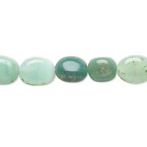 bead, chrysoprase (natural), shaded, 9x7mm-11x8mm hand-cut puffed oval, d grade, mohs hardness 6-1/2 to 7. sold per 14-inch strand.