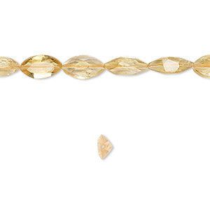 bead, citrine (dyed / heated), 8x5mm hand-cut faceted marquise, b grade, mohs hardness 7. sold per 16-inch strand.