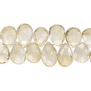 bead, citrine (heated), 10x7mm-12x8mm hand-cut top-drilled faceted puffed teardrop, b grade, mohs hardness 7. sold per 4-inch strand.