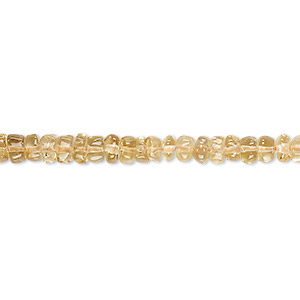 bead, citrine (heated), 5x3mm-6x4mm hand-cut rondelle, b grade, mohs hardness 7. sold per 14-inch strand.