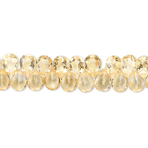 bead, citrine (heated), 7x5mm hand-cut top-drilled faceted teardrop, b grade, mohs hardness 7. sold per 8-inch strand, approximately 80 beads.