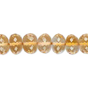 bead, citrine (heated), 9x6mm-10x7mm hand-cut faceted rondelle, b grade, mohs hardness 7. sold per pkg of 10.