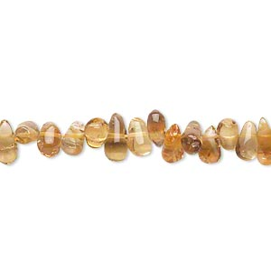 bead, citrine (heated), dark, 5x2mm-8x4mm hand-cut top-drilled teardrop, c- grade, mohs hardness 7. sold per 14-inch strand.