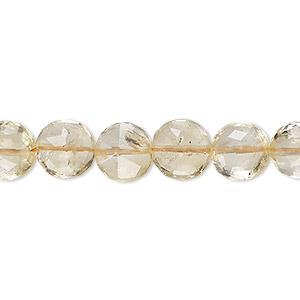 bead, citrine (heated), light, 9-10mm hand-cut faceted puffed flat round, b grade, mohs hardness 7. sold per 14-inch strand.