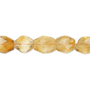 bead, citrine (heated), shaded, 9x8mm-13x9mm hand-cut faceted puffed oval, c grade, mohs hardness 7. sold per 8-inch strand.