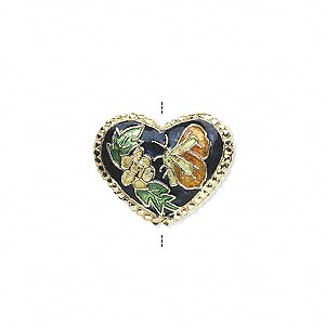bead, cloisonne, dark blue/orange/green/gold, 18x15mm double-sided heart. sold per pkg of 4.