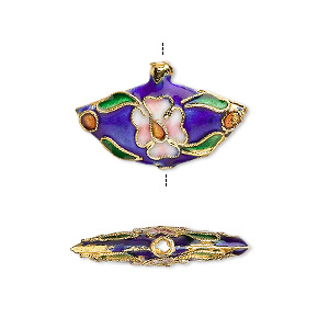 bead, cloisonne, enamel and gold-finished brass, multicolored, 23x14mm double-sided fan with flowers and leaves design. sold per pkg of 6.