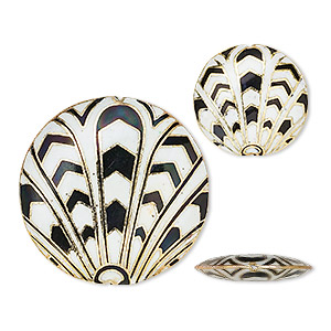 bead, cloisonne, enamel and gold-finished copper, black and white, (2) 24mm and (1) 38mm puffed flat round with art deco design. sold per 3-piece set.