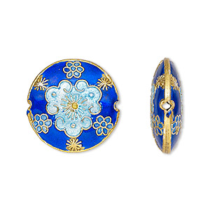 bead, cloisonne, enamel and gold-finished copper, blue, 20mm double-sided puffed flat round. sold per pkg of 4.