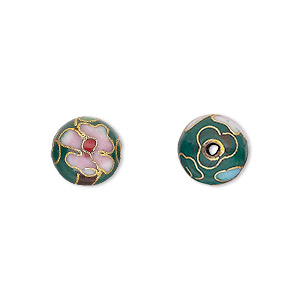 bead, cloisonne, enamel and gold-finished copper, green / pink / red, 10mm round with flower design. sold per pkg of 10.