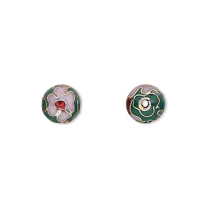 bead, cloisonne, enamel and gold-finished copper, green / pink / red, 8mm round with flower design. sold per pkg of 10.
